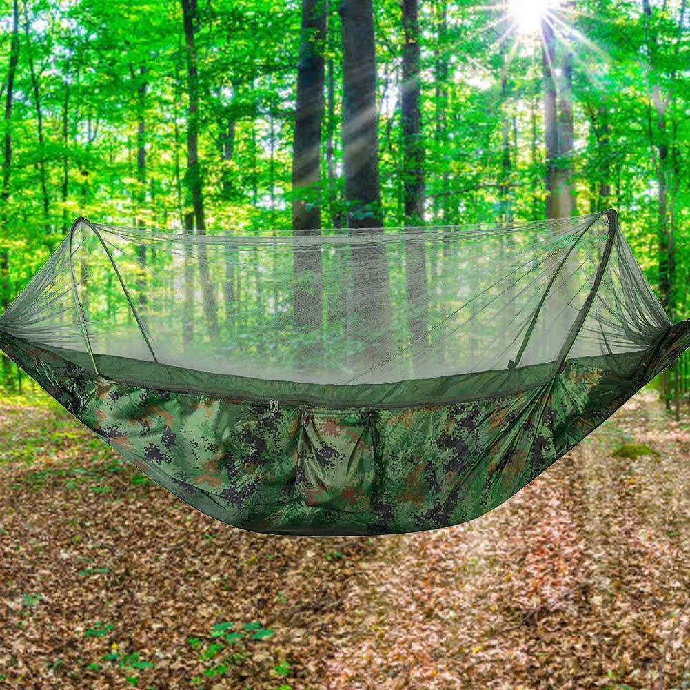 Duokon Hamacas Que acampan hamacas Dobles//Sencillas de /árboles Que cuelgan de la Cama con mosquitera para Viajes de Supervivencia al Aire Libre Camuflaje