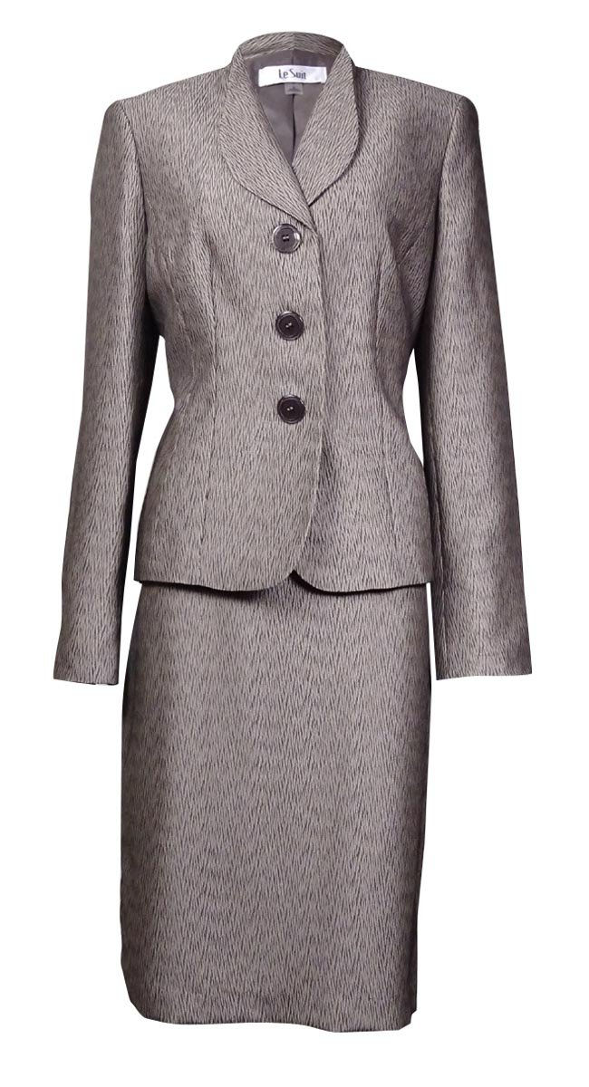 Le Suit Womens Petites Monte Carlo Jacquard Metalllic Skirt Suit Taupe 16P by Le Suit