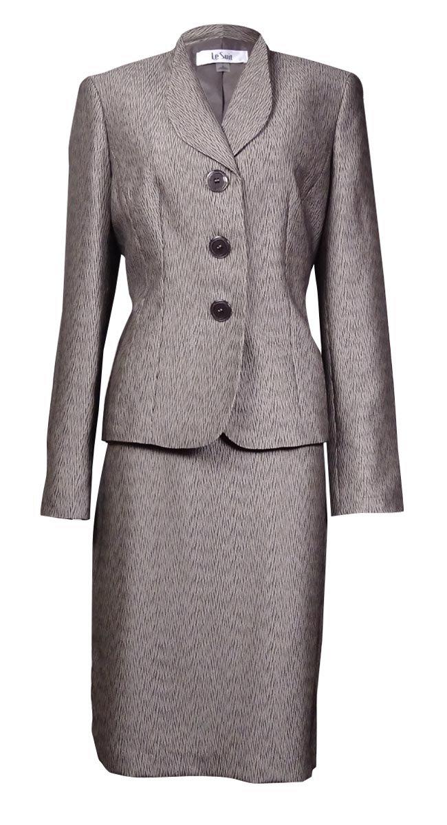 Le Suit Womens Petites Monte Carlo Jacquard Metalllic Skirt Suit Taupe 2P