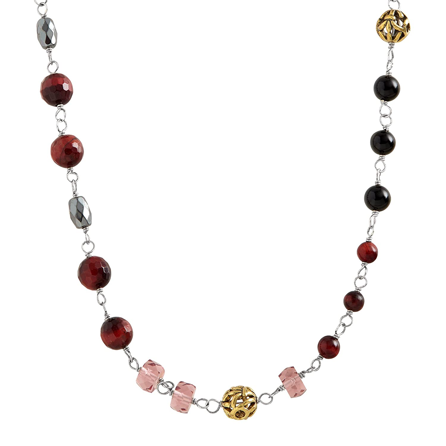 Silpada 'Burgundy Blush' Natural Agate, Hematite & Red Tiger's Eye Necklace in Sterling Silver & Brass Silpada 'Burgundy Blush' Natural Agate Hematite & Red Tiger's Eye Necklace in Sterling Silver & Brass Richline Group N3347