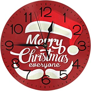 """Santa Claus Wall Clock 10"""" Round,- Battery Operated Wall Clock for Home Decor Living Room Kitchen Bedroom Office School"""