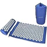 Navaris set per agopressione tappetino e cuscino - 1x tappeto svedese chiodato 1x cuscino con borsa - materassino cuscinetto shakti yantra mat - blu