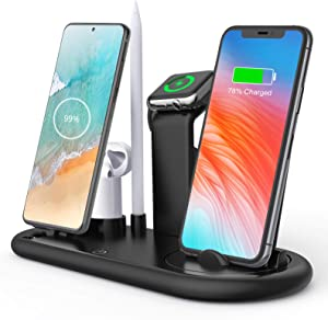Wireless Charger,6in1 Qi-Certified 10W Fast Wireless Charging Dock Station for iPhone11/ 11Pro/Apple Watch/Airpods/Pencil,Wireless Charging Stand Compatible with Samsung Galaxy Note20 /S10 / S10 Plus