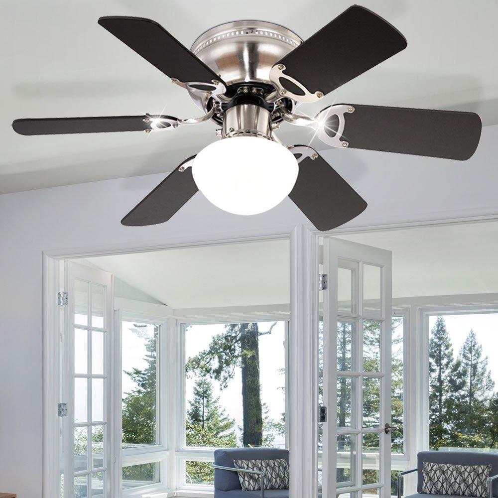 LED Decken Ventilator Wohn Zimmer Lüfter Beleuchtung Glas Lampe Zugschalter