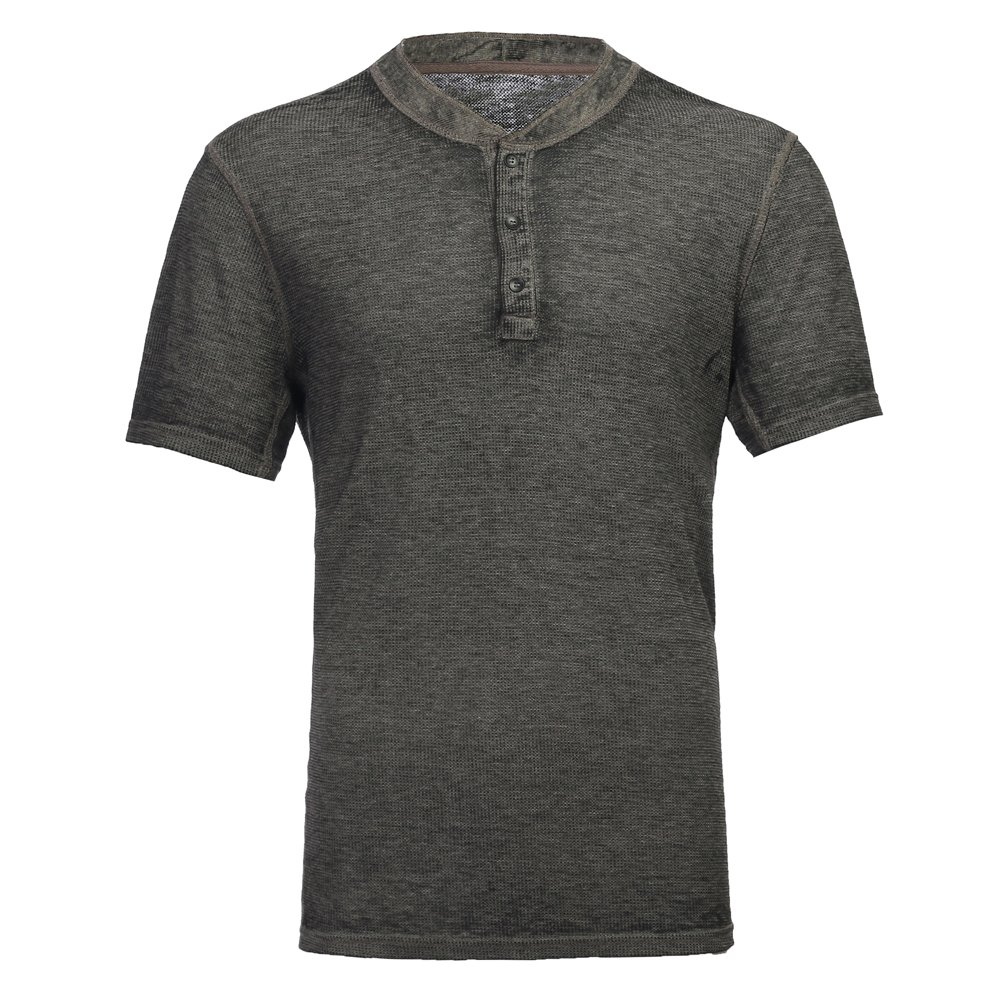 YANWENFANG Men's Casual Short Sleeve Lightweight Burnout Thermal and Heather Henley Tee