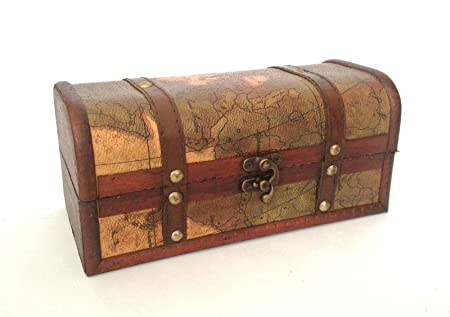 TREASURE CHEST VINTAGE COLONIAL STYLE OLD MAP ATLAS DESIGN BOX STORAGE TRUNK