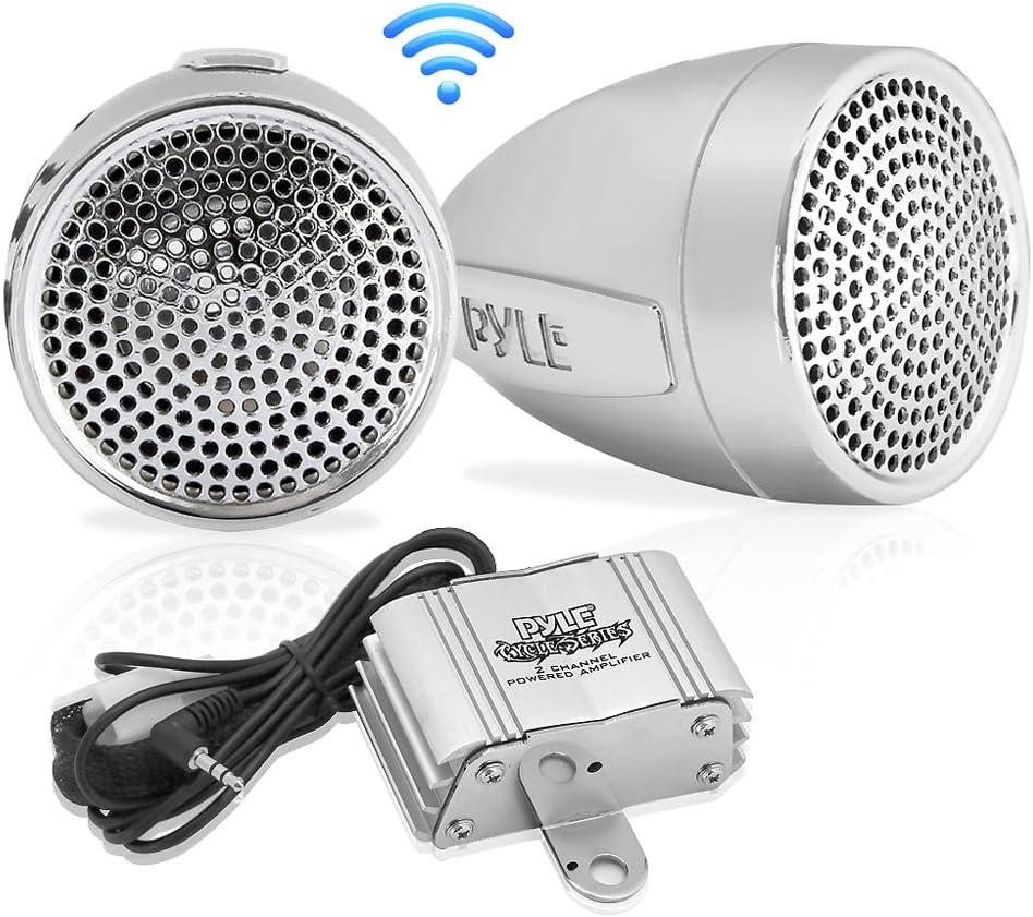 Pyle 300 Watt Weatherproof Motorcycle Speaker and Amplifier System w/ Two 2.25 Inch Waterproof Speakers, AUX IN- Handlebar Mount ATV Mini Stereo Audio Receiver Kit Set - Also for Marine Boat - PLMCA60