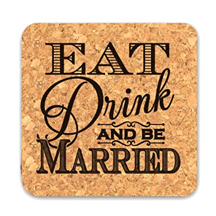 Wedding Favors Coaster.Amazon Com Ducky Days Cork Coaster Wedding Favors Eat Drink And Be