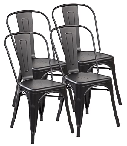 Kraftspace Chair Tolix Style Iron Metal Stackable Kitchen Dining Chairs, 33 x 17.5 x 17.2 Inches - Set of 4