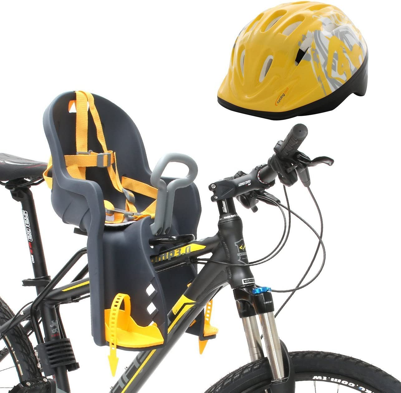 Bicycle Seat for - Kids Child Children Infant Toddler - Front Mount Baby Carrier Seat Bike Carrier USA Safely Standard with Handrail and Helmets - Great for Adult Bike Attachment