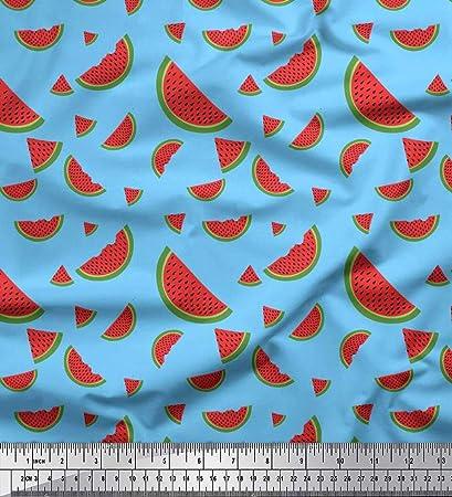Soimoi Azul lona pesada Tela sandía Fruta tela estampada de 1 ...
