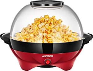AICOOK Electric Hot Oil Popcorn Popper Machine, Popcorn Maker with Stirring Rod Offers Large Lid for Serving Bowl and Convenient Storage, 6-Quart/24-Cup, Red