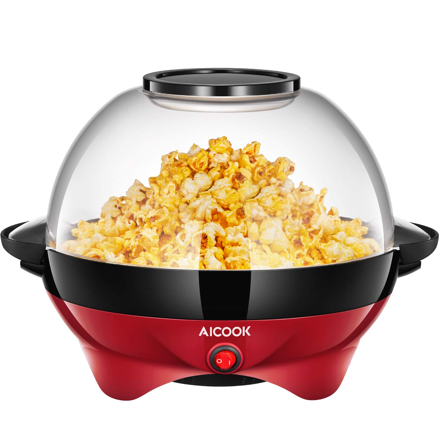 Popcorn Maker, AICOOK Electric Hot Oil Popcorn Popper Machine with Stirring Rod Offers Large Lid for Serving Bowl and Convenient Storage, 6-Quart, Red