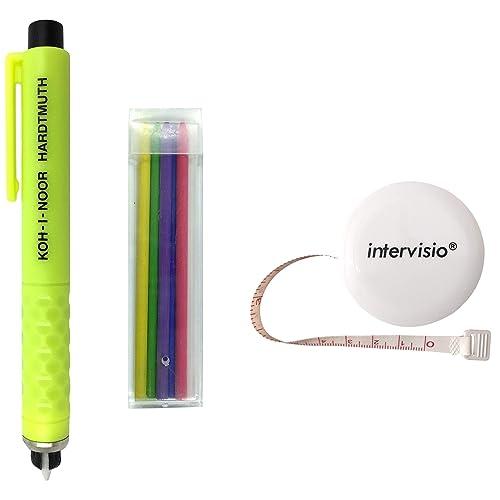 intervisio Koh-I-Noor Crayon de Tailleur en Plastique, Craie à Marquer, Couleurs Assorties, Accesoires de Couture 1 Mètre à Ruban Rétractable Blanc
