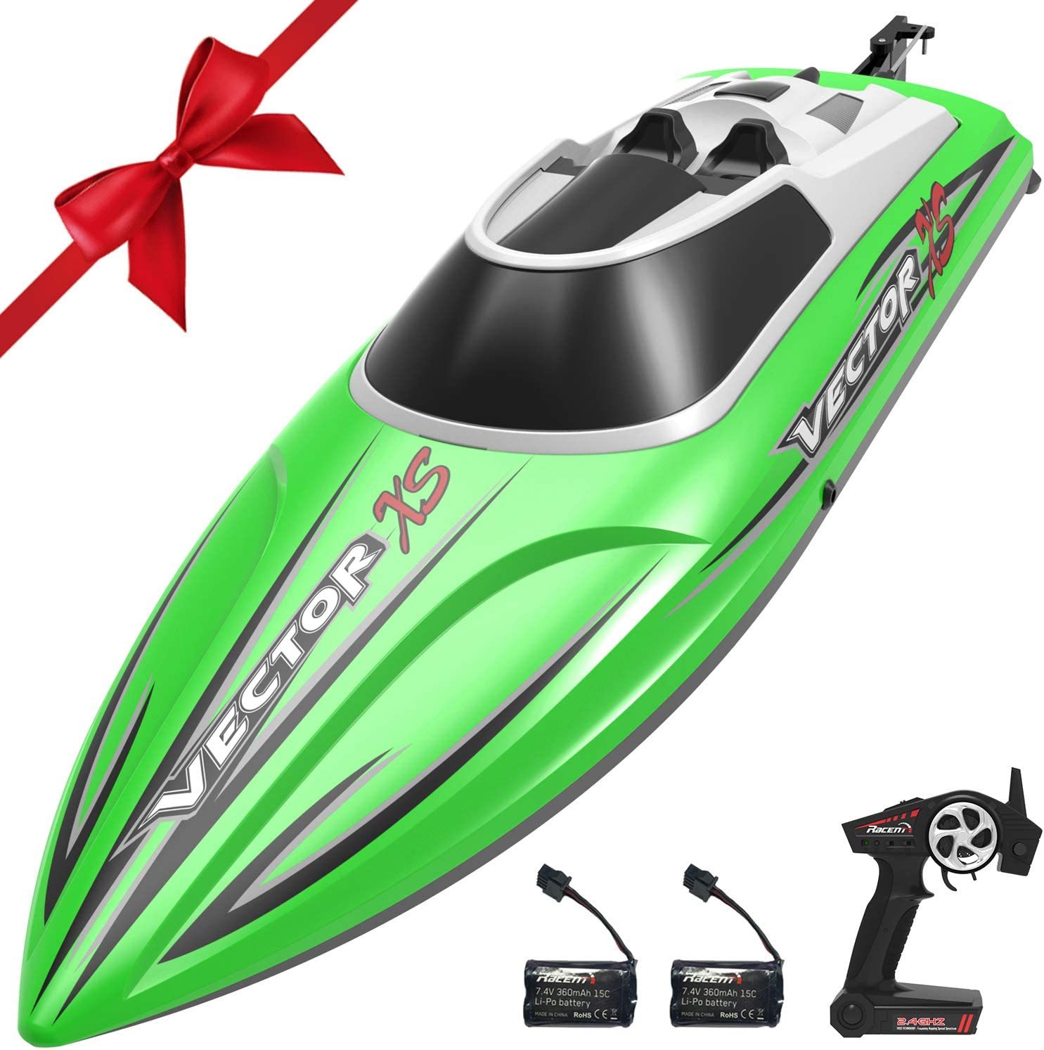 VOLANTEXRC Remote Control Boat RC Boat for Pool and Lakes, 20MPH High Speed RC Boat VectorXS with Self-righting Feature, Reverse Function for Kids or Adults (795-4 Green)