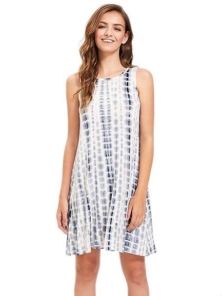 40ec6c5600 ROMWE Women s Tie Dye Short Tank Dress Loose Swing Tunic T Shirt Dress Navy  S