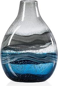Torre & Tagus Andrea Swirl Glass Short Bulb Vase, Blue