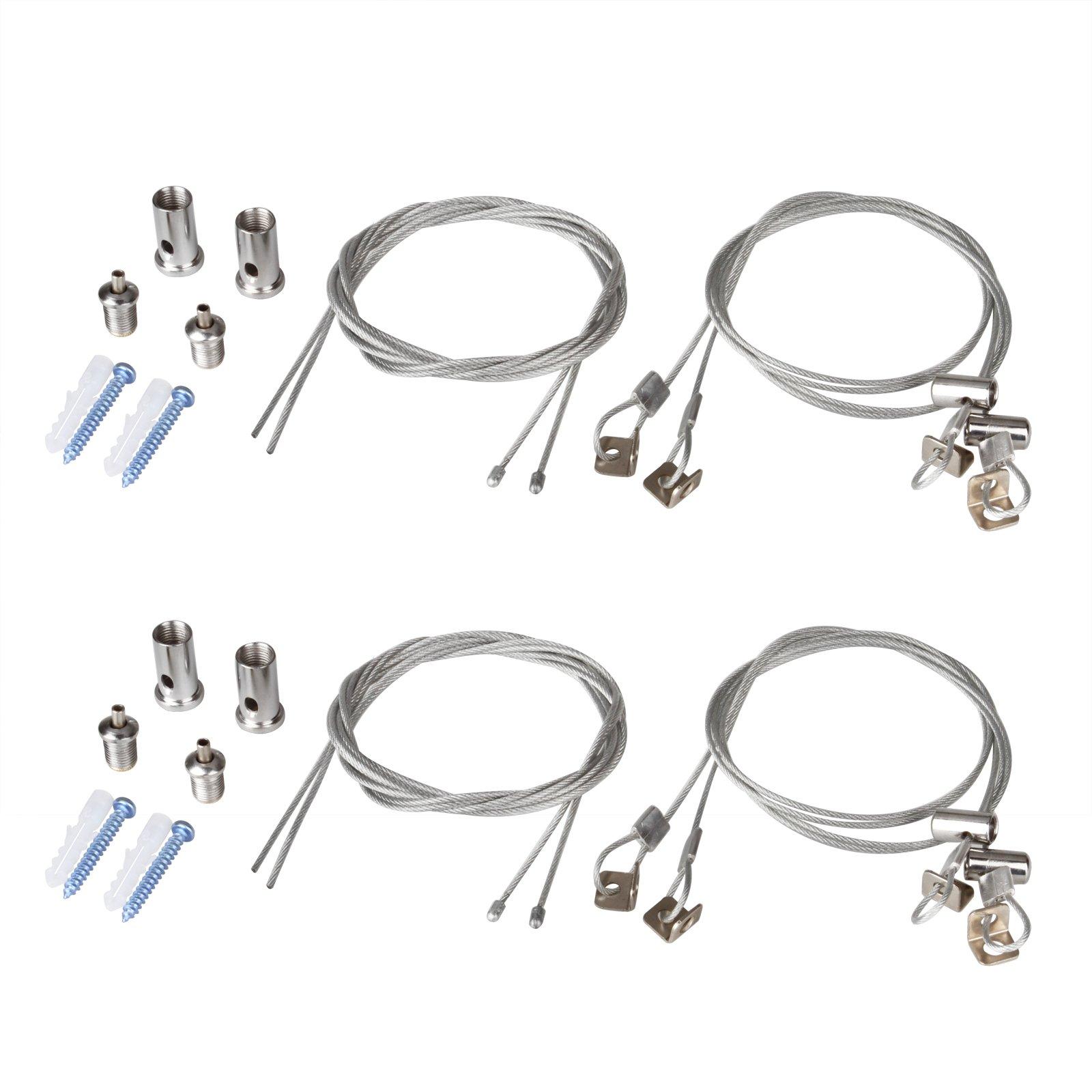 OTTFF 2Set/8pcs Lights Suspension Kit Luminaire Installation Hardware Adjustable Fastener - 3.2ft Iron Cable can Trimmed Length - Load 3KG Per Strip for Aquarium Lights LED Panel Light(2 Sets)
