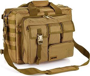 "Military Briefcase,15.6 inch Men's Laptop Messenger Bag Tactical Briefcase Multifunction Outdoor Computer Shoulder Handbags (15.6"", Khaki)"