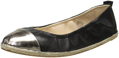 Nine West Women's Quotie Leather Ballet Flat, Black/Dark Grey, ...
