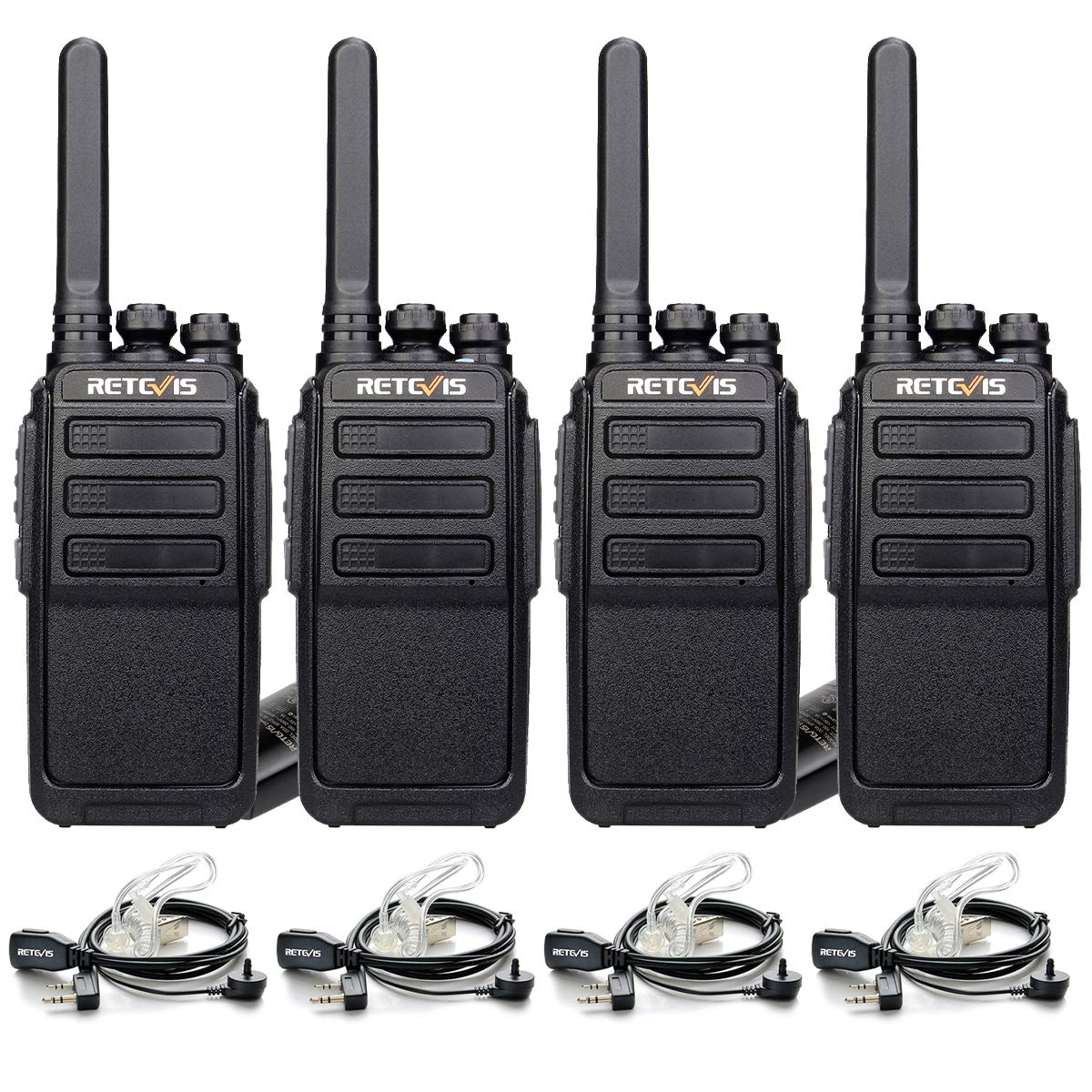 Retevis RT28 Walkie Talkies Rechargeable Long Range VOX Hand Free FRS 16 Channels Emergency Alarm 2-Way Radios with Earpiece Headset 2 Pin 4 Pack