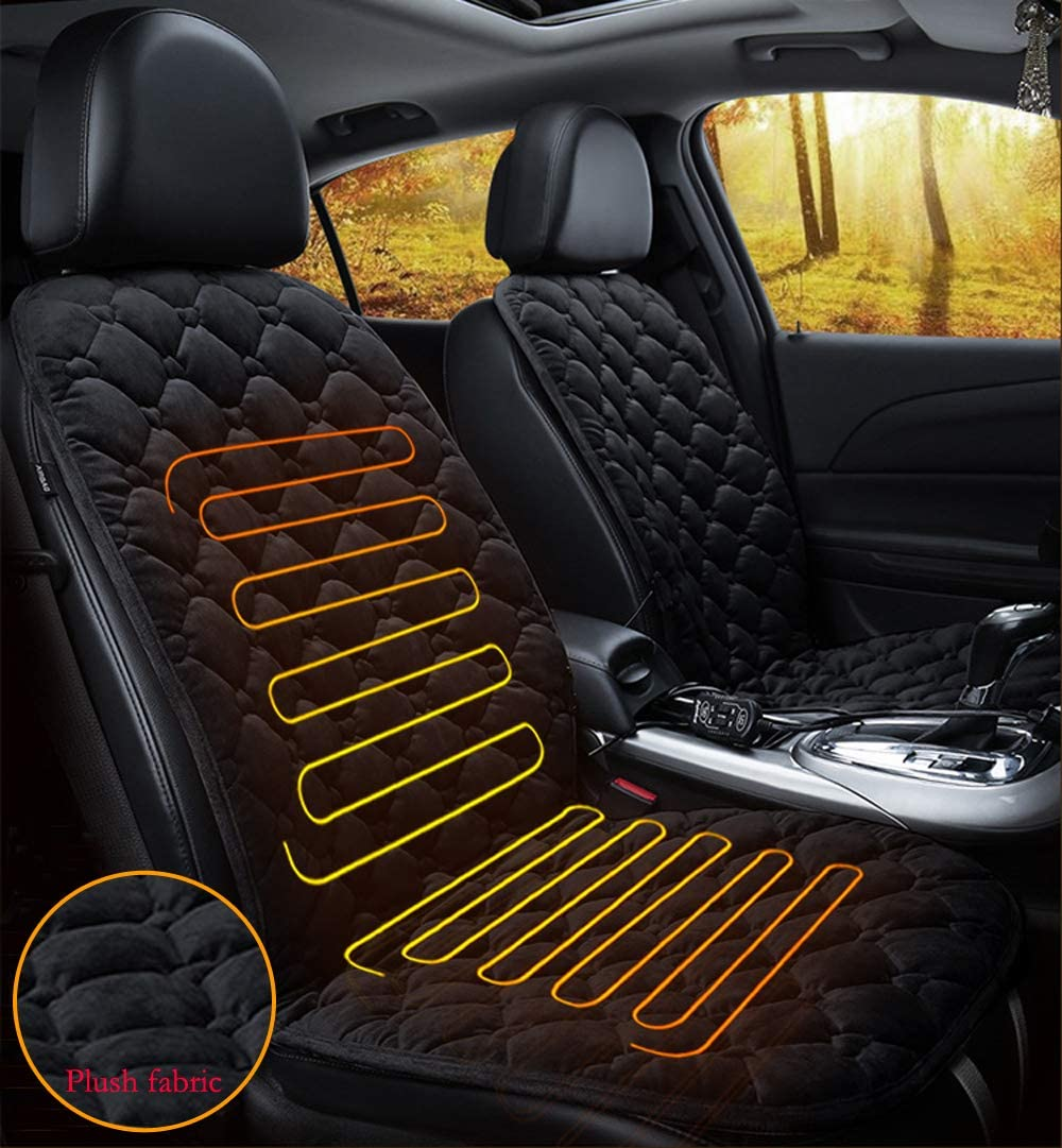 Quick Warming Heated Car Seat Cushion Pad Auto 12V Heater Warmer Pad Hot Cover Automobile Heating Mat for Cold Weather and Winter Driving Grey