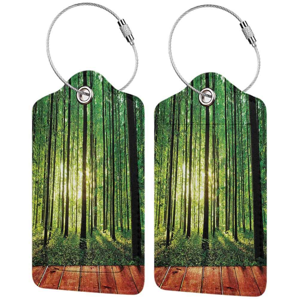 Personalized luggage tag Farm House Decor Trees Forest Picture from Indoor Sunlight as Background Wooden Floor Decorative Art Easy to carry Green Brown W2.7 x L4.6