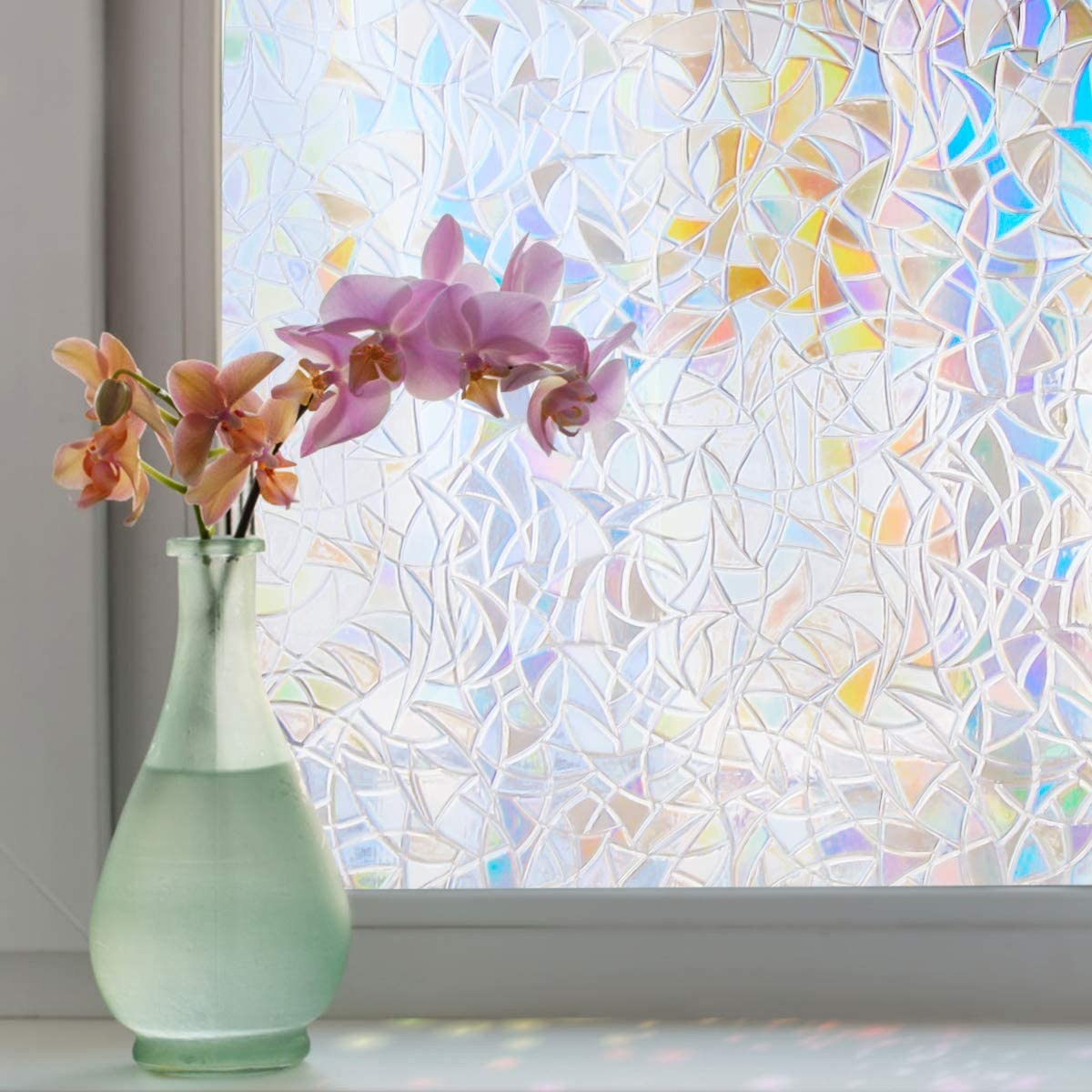 bofeifs Rainbow Window Film Static Cling Decorative Privacy Reusable Glass Film for Home, Kids Bedroom, Heat Control 17.5 x 78.7 inches