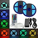 eTopxizu 32.8Ft /10M DC 12V Flexible 5050 RGB LED Strip Light With 44key LED Controller and 12V5A Power Adapter Non-waterproof for Indoor Decoration Novelty