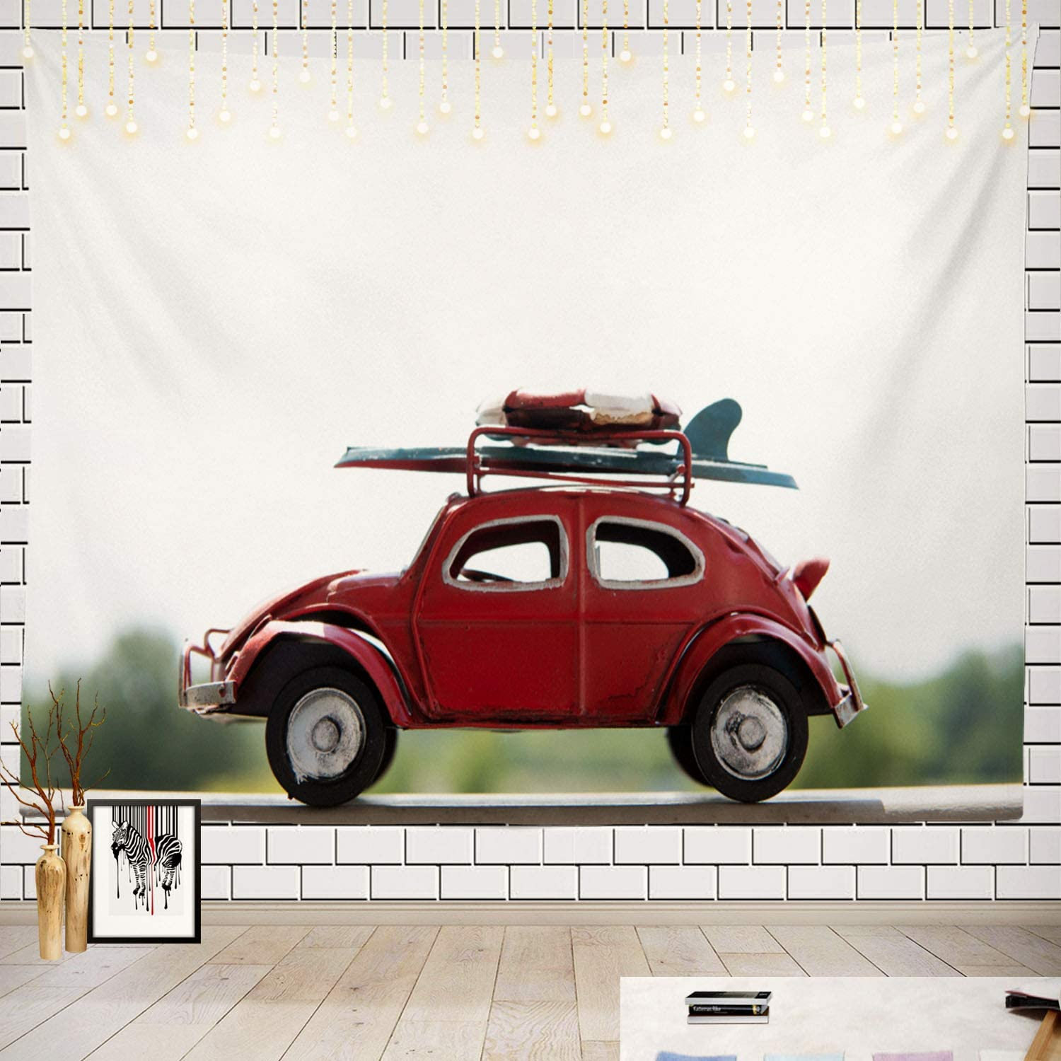 Batmerry Red Car Summer Adventure Tapestry, Warsaw July Old Red Volkswagen Beetle Toy Car with Picnic Mat Hippie Trippy Tapestry Wall Art Decor for Bedroom Living Room, 51.2 x 59.1 Inches, Red Car
