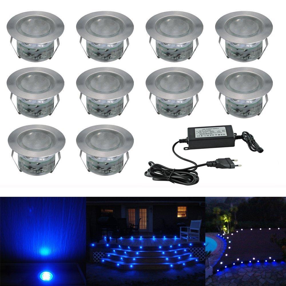 10pcs Luz LED Foco empotrable al Aire Libre 0.5W 45mm Ø IP67 Impermeable Iluminación para Exterior Jardín Patio Césped Paisaje con control remoto (Colores Cambiables) [Clase de eficiencia energética A] LTD