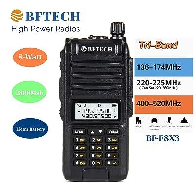 BFTECH BF-F8X3 Tri-Band 8 Watt VHF 1.25M UHF 136-174/220-260/400-520Mhz Portable Amateur Ham Two Way Radio: Car Electronics