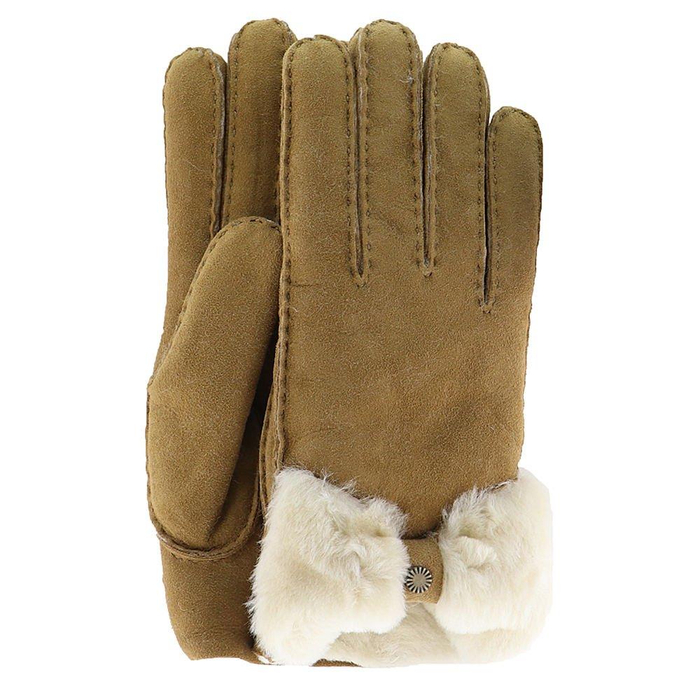 UGG Women's Bow Waterproof Sheepskin Gloves Chestnut MD