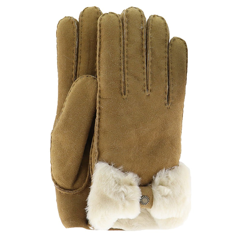 UGG Women's Bow Waterproof Sheepskin Gloves Chestnut LG
