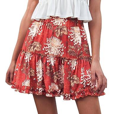 UK Womens Leopard Print Ruffle Short Skirt Summer Elastic Waist Party Mini Dress