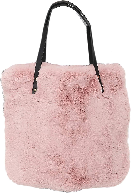 Epsion Women's Faux Fur Handbag Fluffy Bucket Tote Hobo Bag Fashion Shoulder Bags Purse