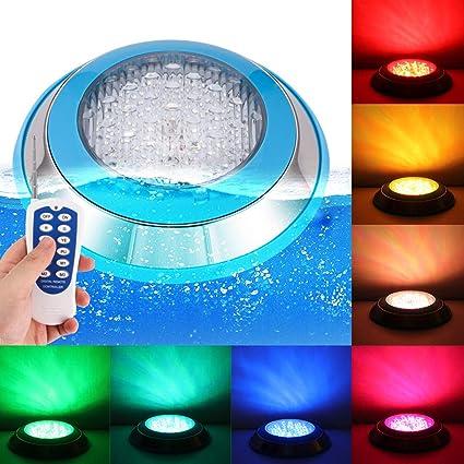 LemonBest RGB LED Swimming Pool Underwater Light Landscape Fountain Pond  Spotlight Lamp AC 12V 15W Waterproof with Remote Control