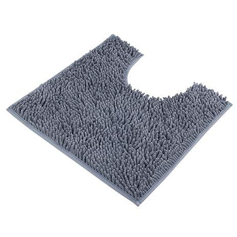 Amazoncom VDOMUS Contour Bath Rug Soft Shaggy Ushaped Toilet - Gray contour bath rug for bathroom decorating ideas
