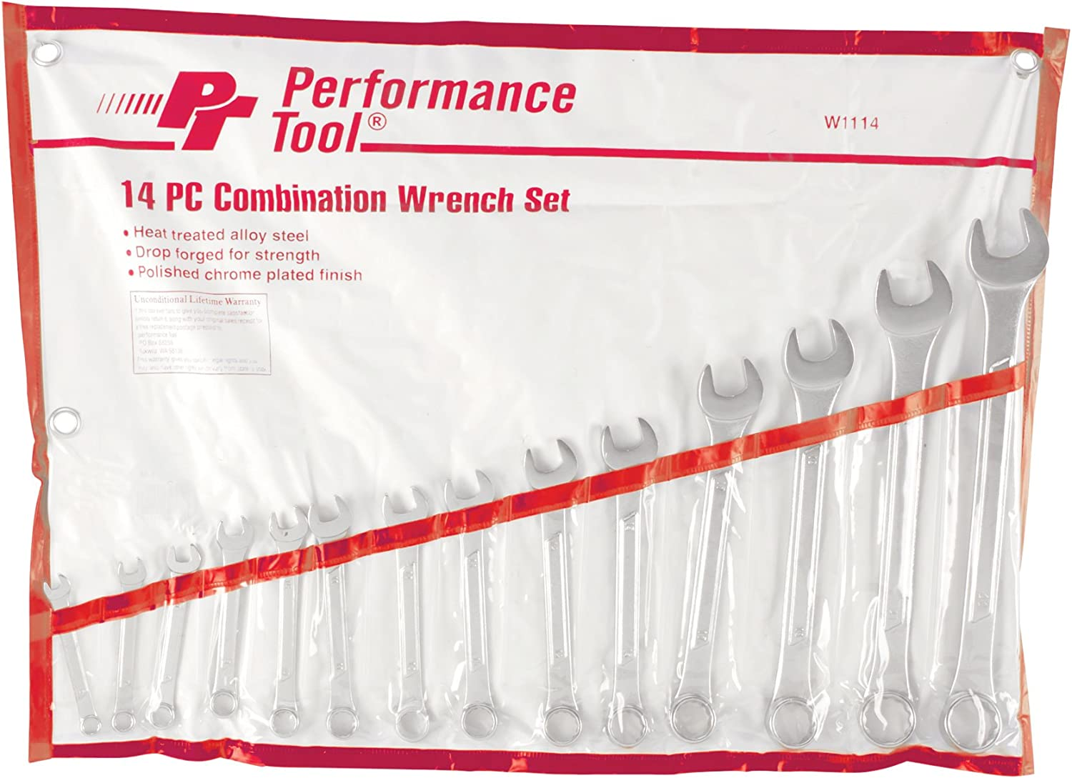 Performance Tool W1114 Sae Combination Wrench Set 14-Piece Wilmar Corporation