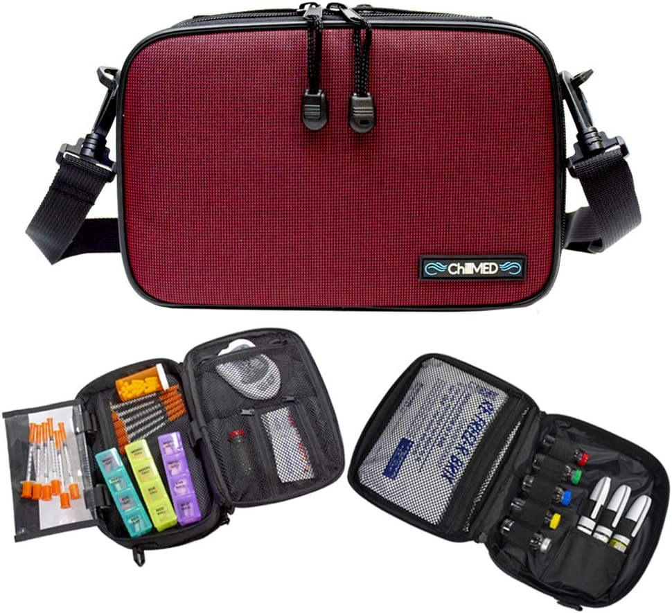 ChillMED Elite Diabetes Weekly Travel Organizer - Supply Kit | Insulin and Medication Travel Cooler Bag with Reusable Ice Pack - Up to 14 Hours of Cooling Time - Red