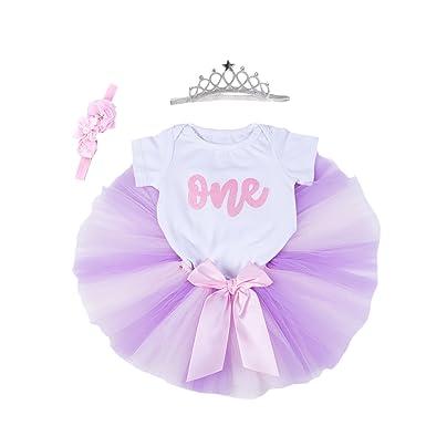 d17088518a2a Baby Girls 1st Birthday Bling One Romper Tutu Skirt Flower Crown Headband  (Purple Pink,