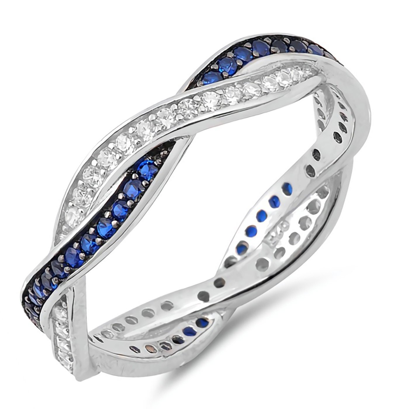 Infinity Twist Braid Engagement Promise Ring Womens Sterling Silver Cubic Zirconia Size 9 -Blue