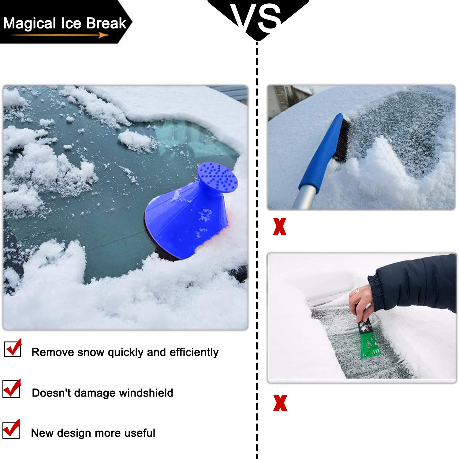 Lemonfreed Ice Scraper-Round Car Windshield Snow Scraper-Magic Funnel Snow Removal Tool Cone-Shaped Windshield Ice Scraper(2 Pack)