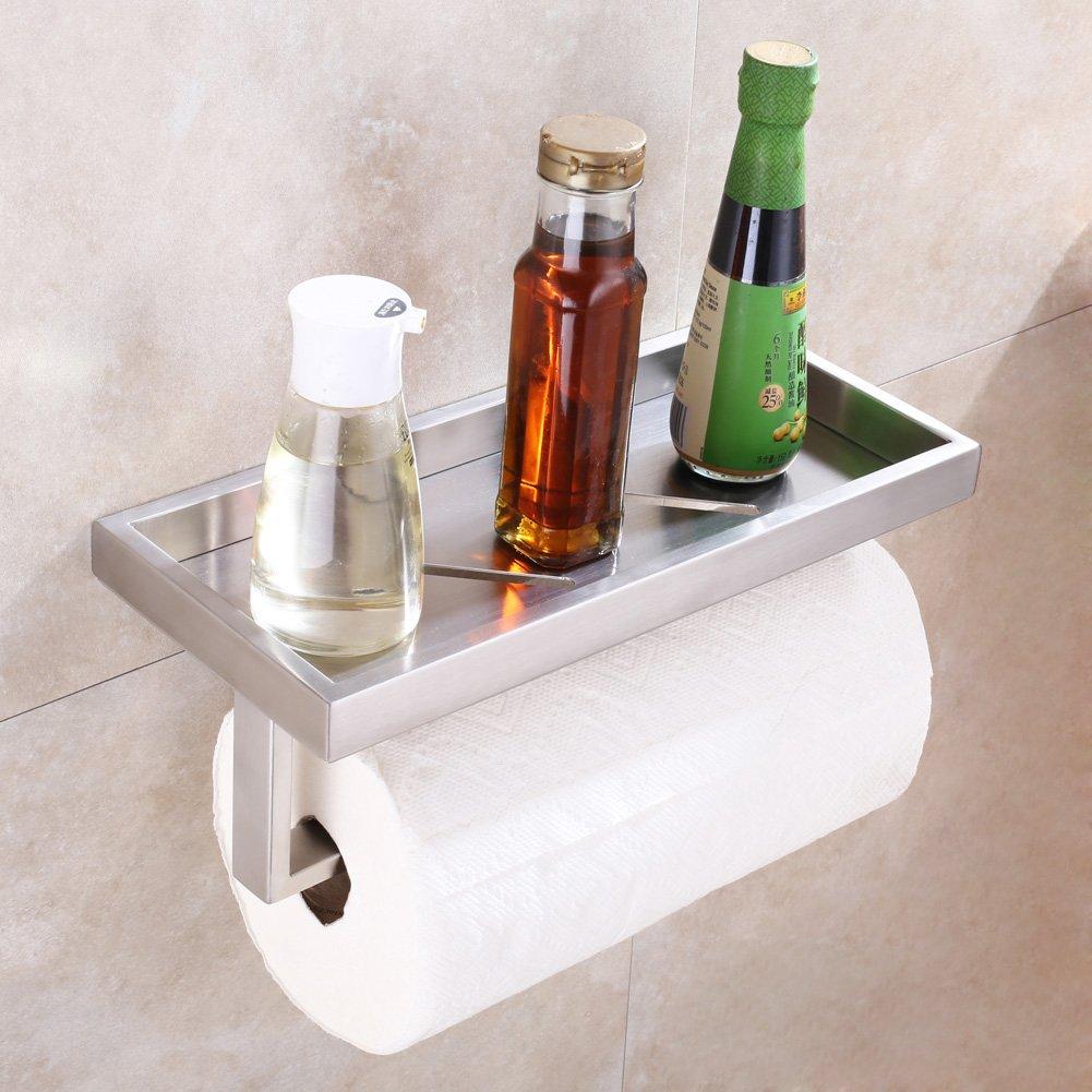 Kitchen Paper Towel Holder with Shelf, APLusee SUS304 Stainless Steel Bathroom Toilet Paper Holder with Wet Wipes Dispenser, Seasonings Spice Rack Storage Organizer (Brushed Nickel)