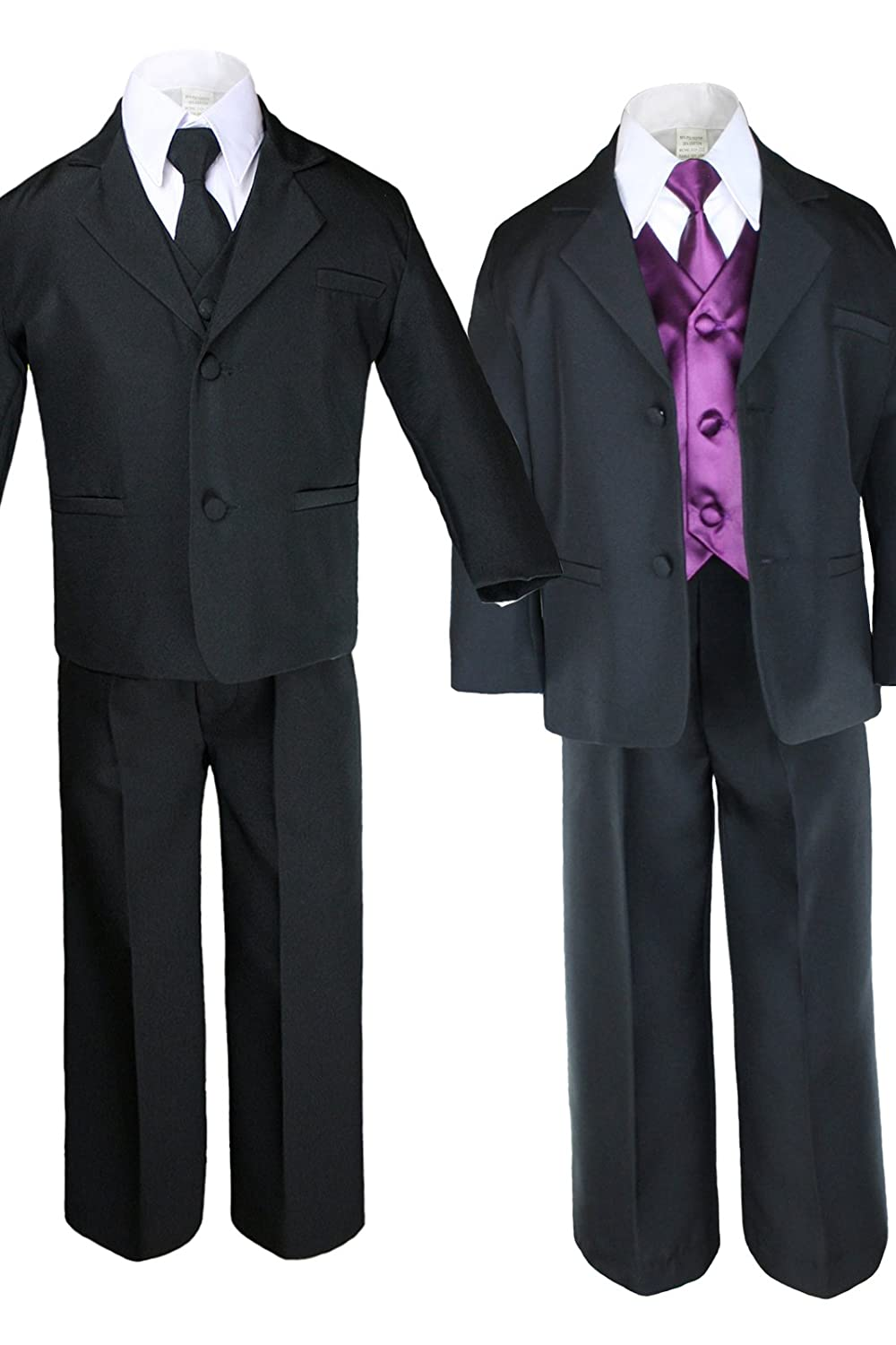 Unotux 7pc Boys Black Suit with Satin Eggplant Vest Set from Baby to Teen