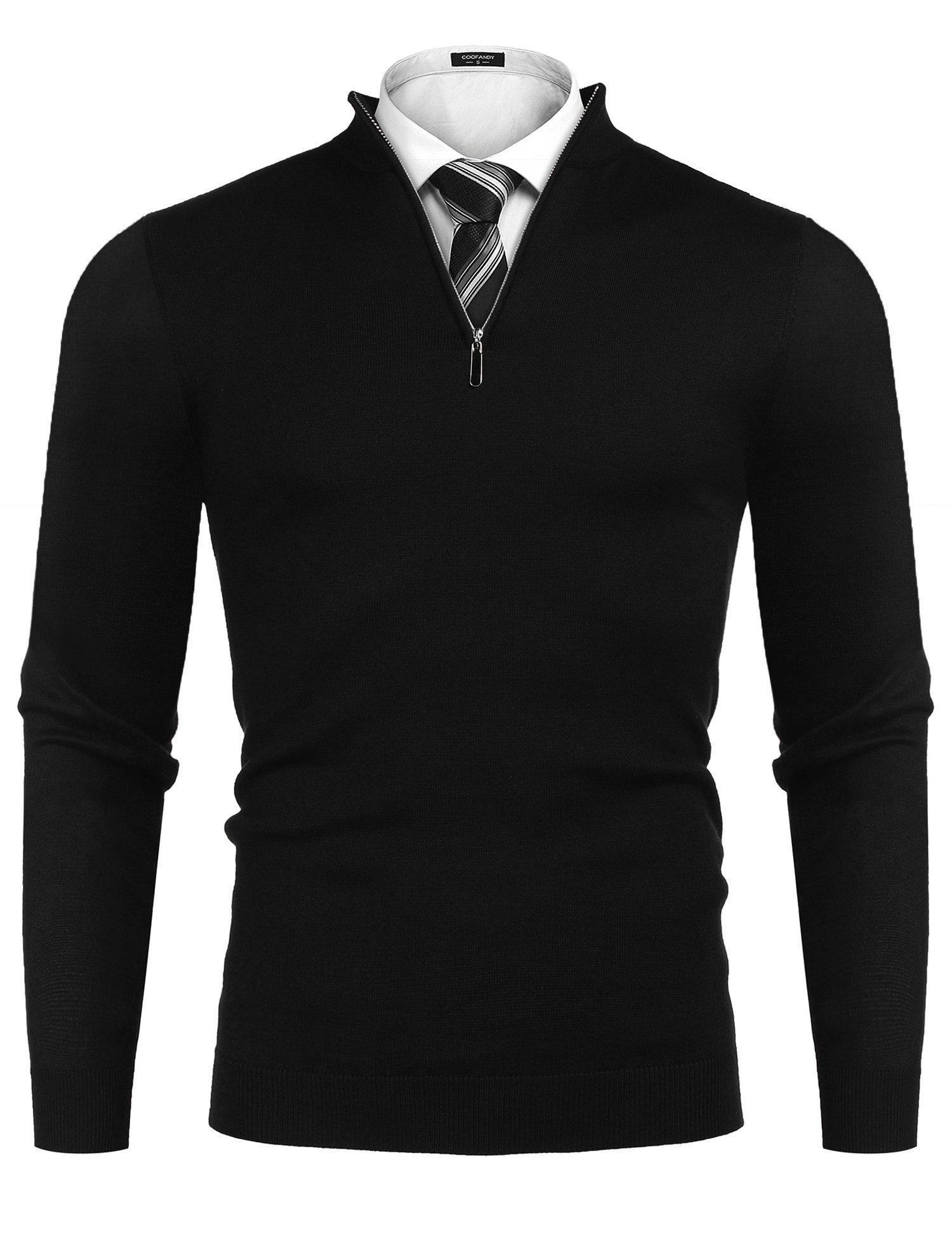 Simbama Men's Slim Fit Mock Neck Long Sleeve Quarter Zip Turtleneck Pullover Polo Sweater