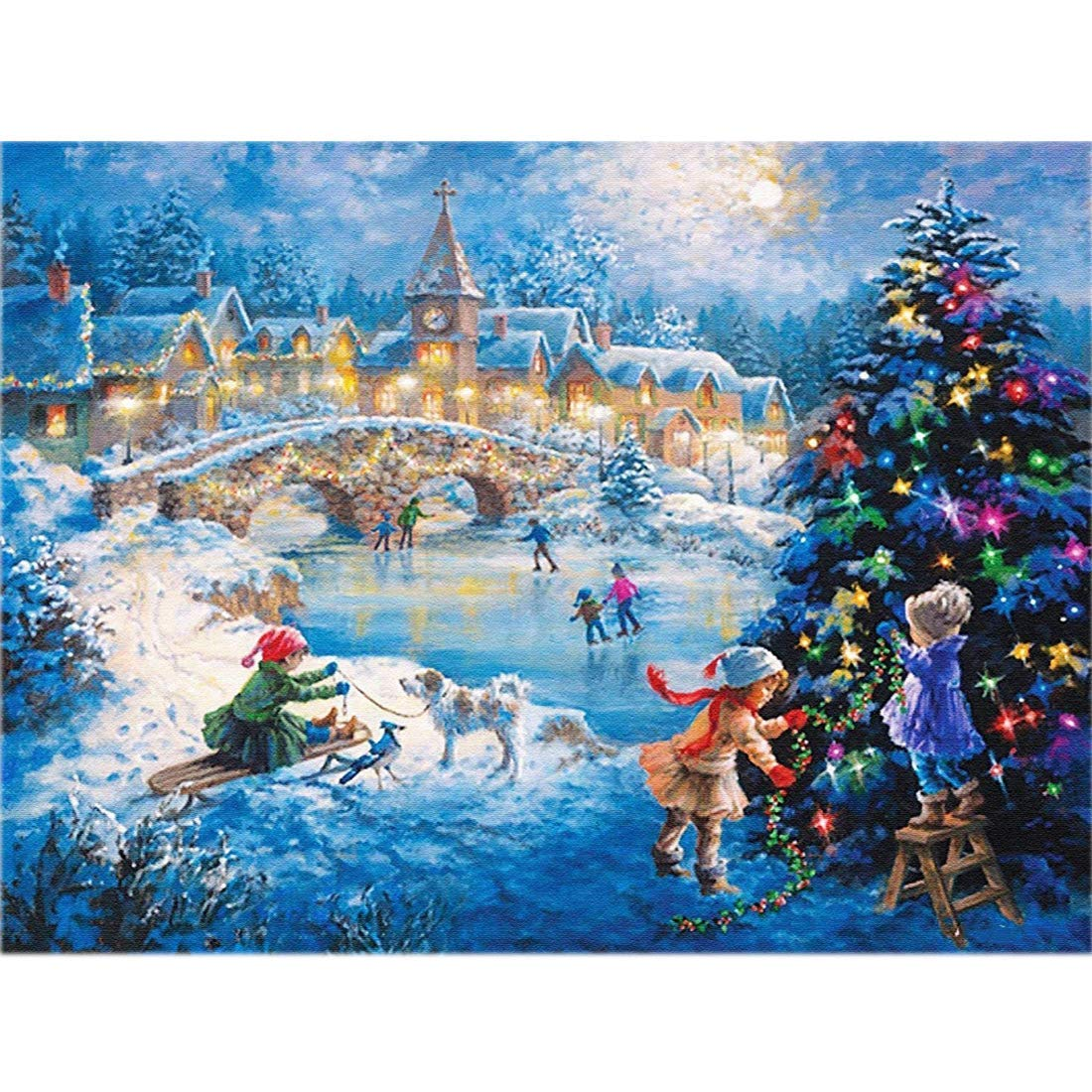 5D Diamond Painting Kits for Adults 57x45CM//22x18inch Full Diamond Cross Stitch Christmas Village by TOCARE