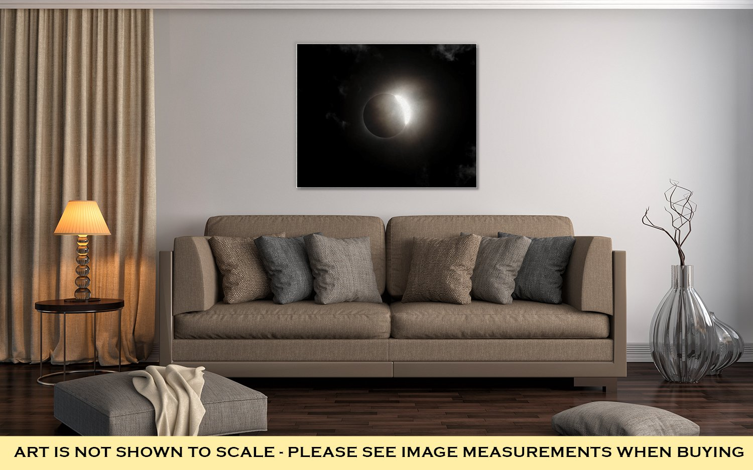 Ashley Canvas Total Solar Eclipse Diamond Ring with Clouds, Wall Art Home Decor, Ready to Hang, Color, 16x20, AG6464641