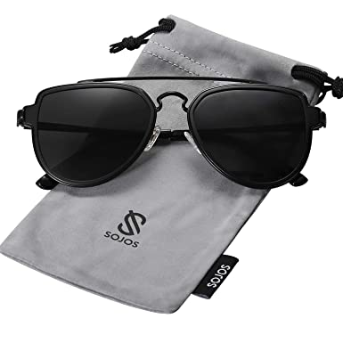 05a824dd95 SOJOS Fashion Double Bridge Mirrored Aviator Men s Sunglasses (SJ1051