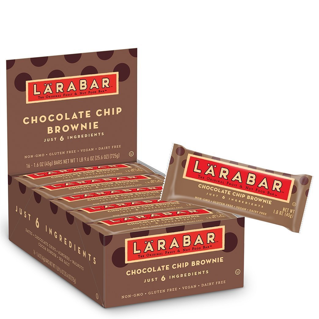 Larabar Gluten Free Bar, Chocolate Chip Brownie, 1.6 oz Bars (32 Count)